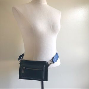 Free People Black Artisan leather fanny pack OS